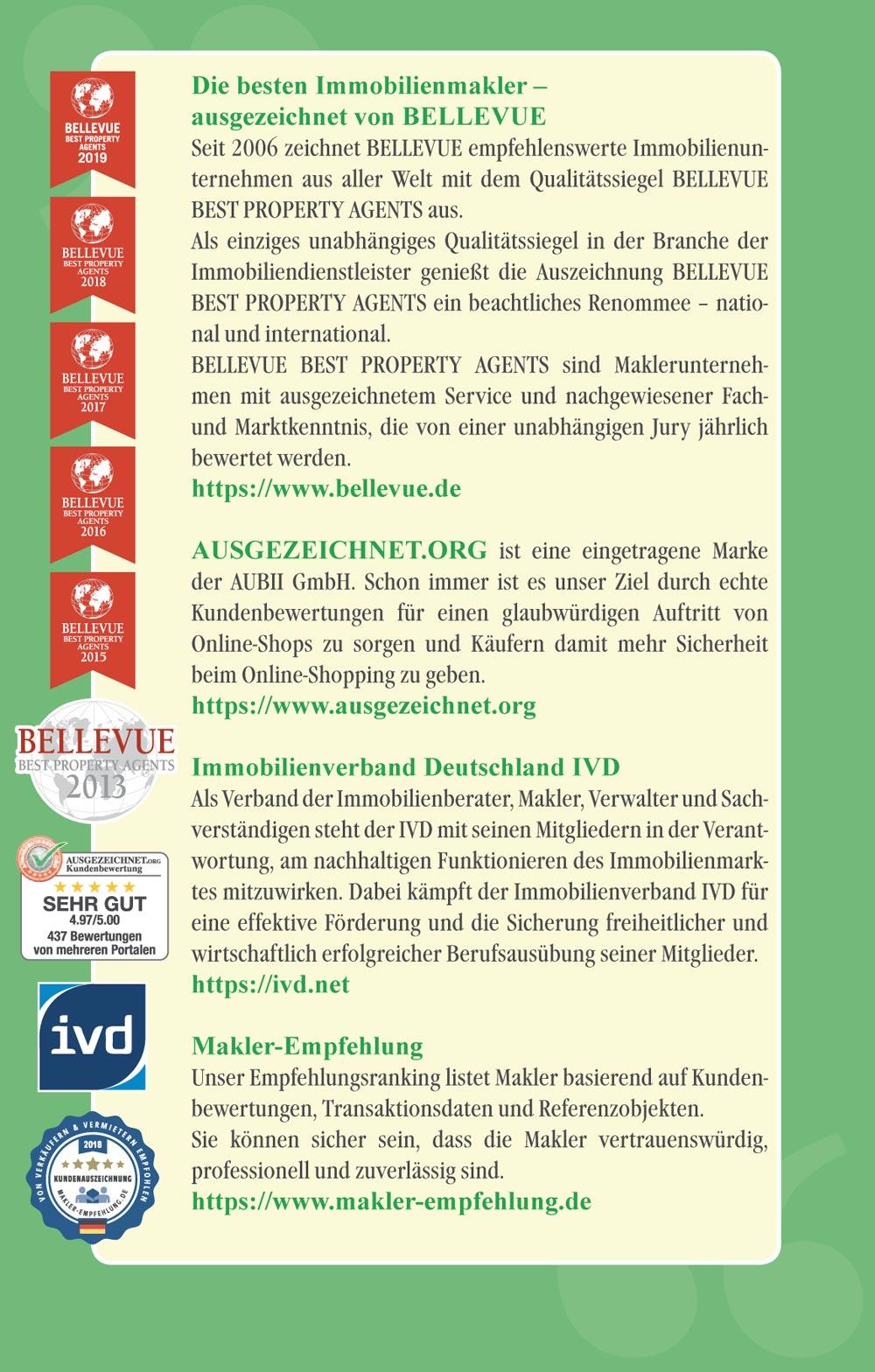 Makler München Auszeichnungen und Mitgliedschaften